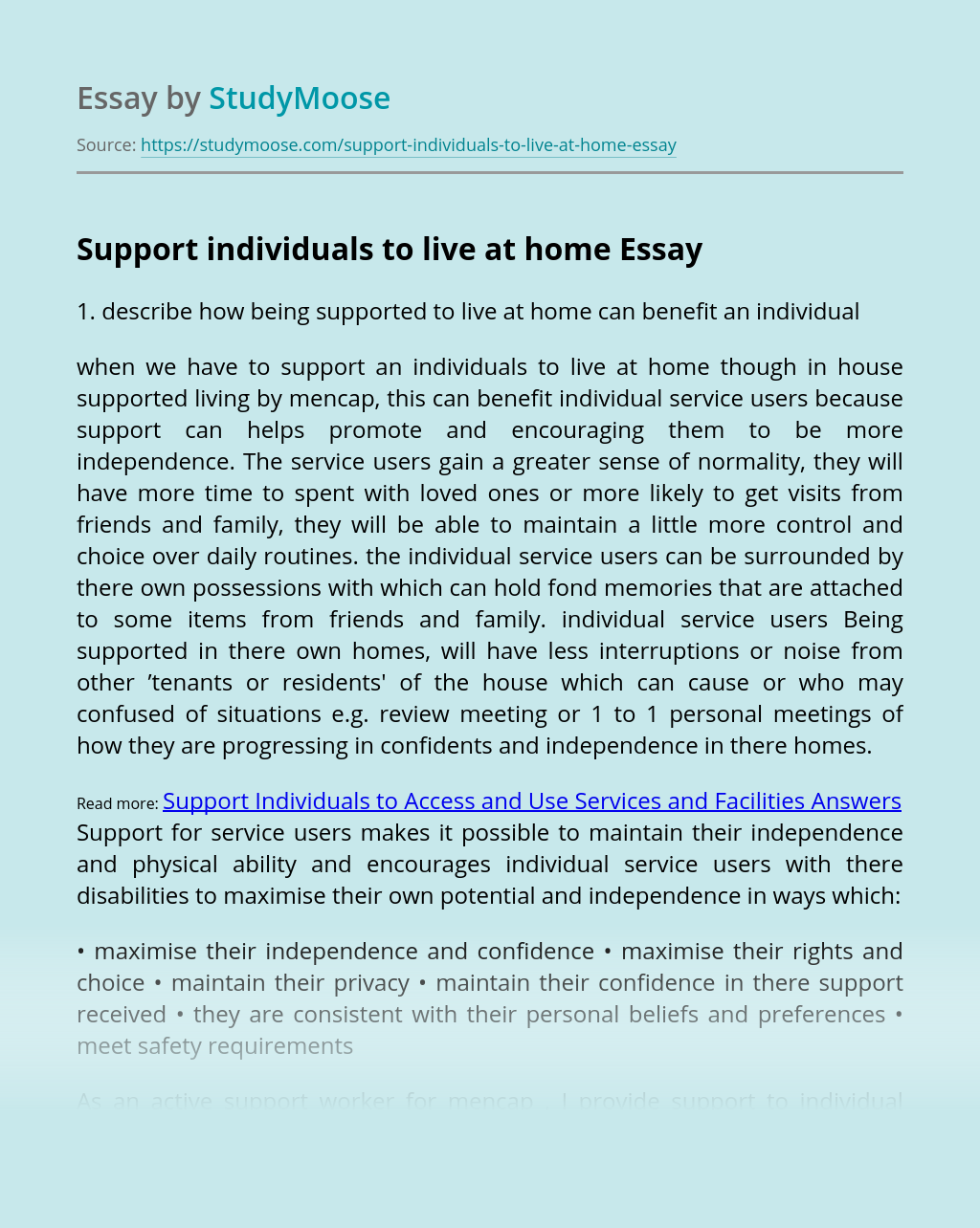 Support individuals to live at home