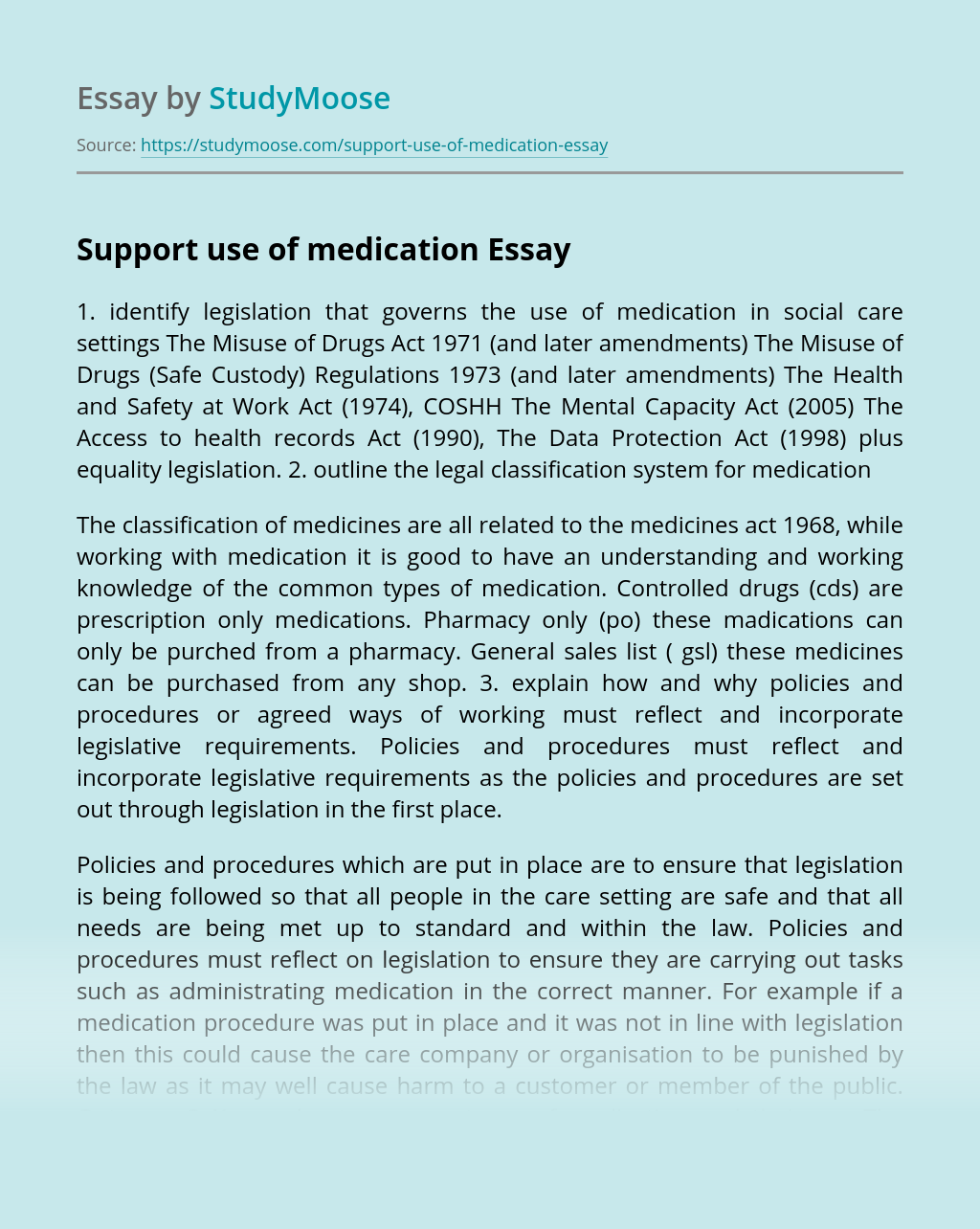 Support use of medication