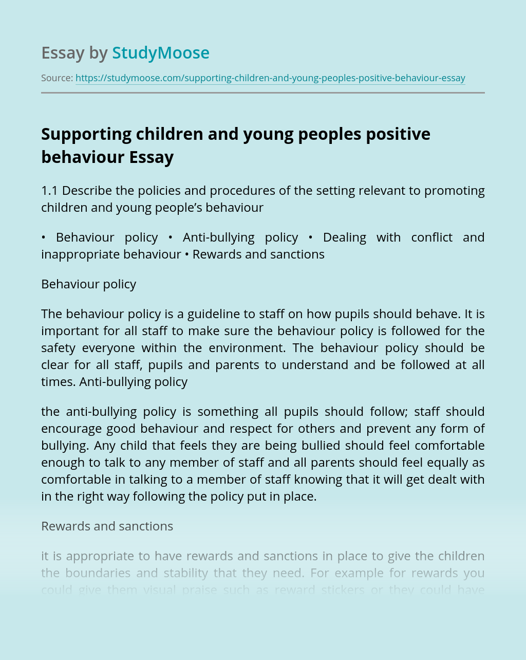 Supporting children and young peoples positive behaviour