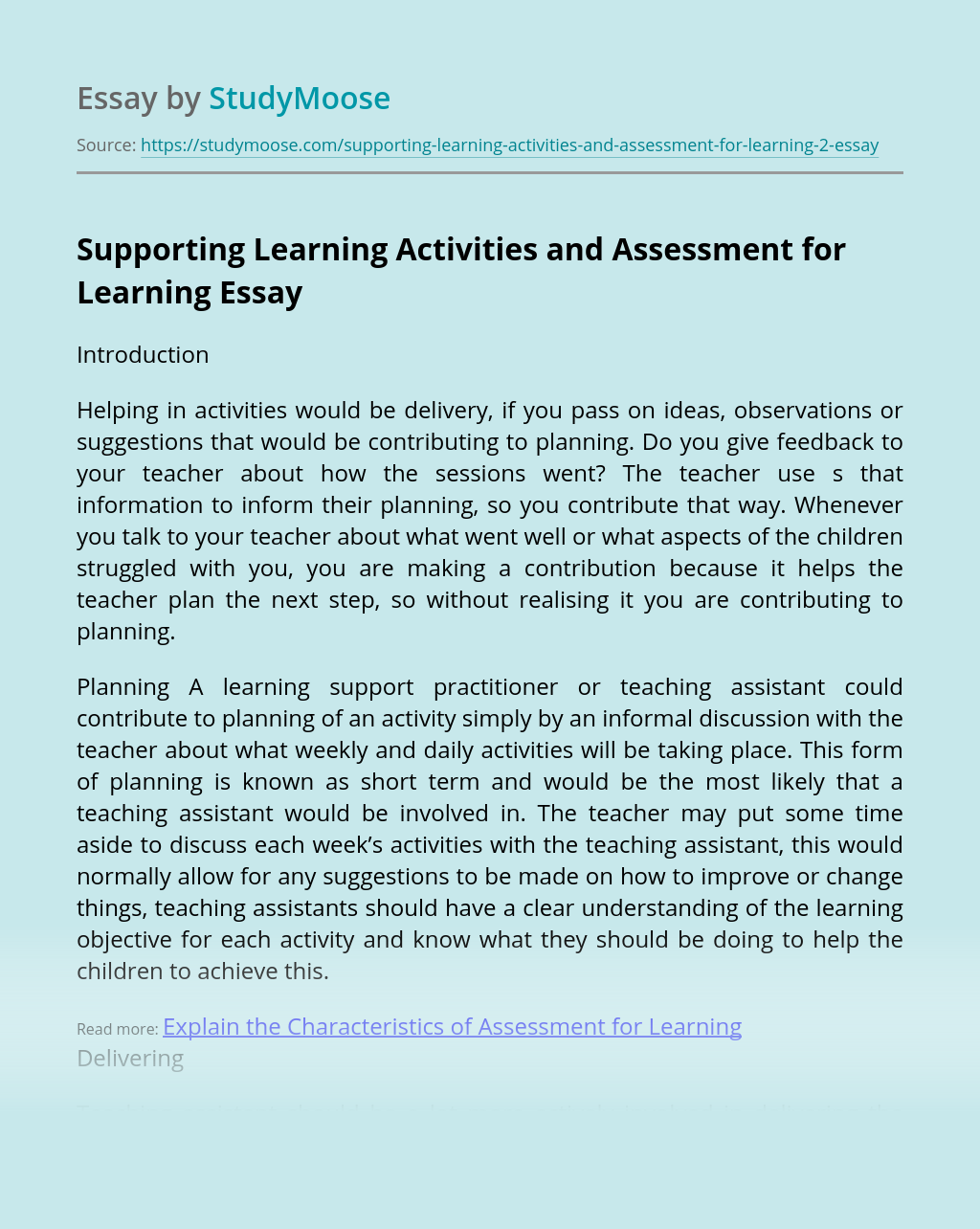Supporting Learning Activities and Assessment for Learning