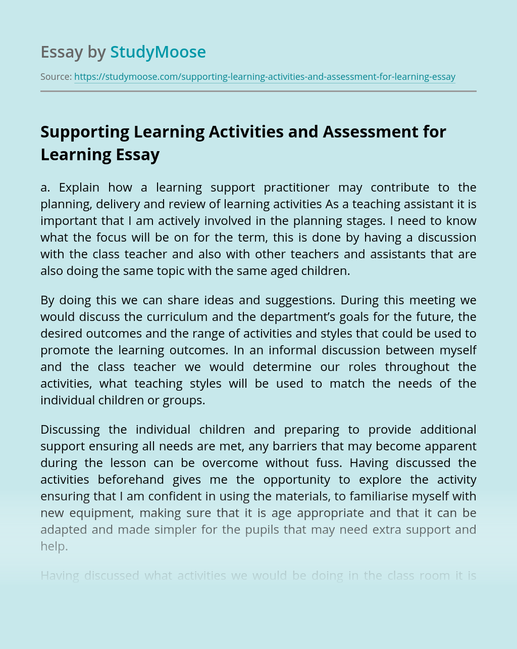 Supporting Learning Activities and Assessment for Learning: Explanation