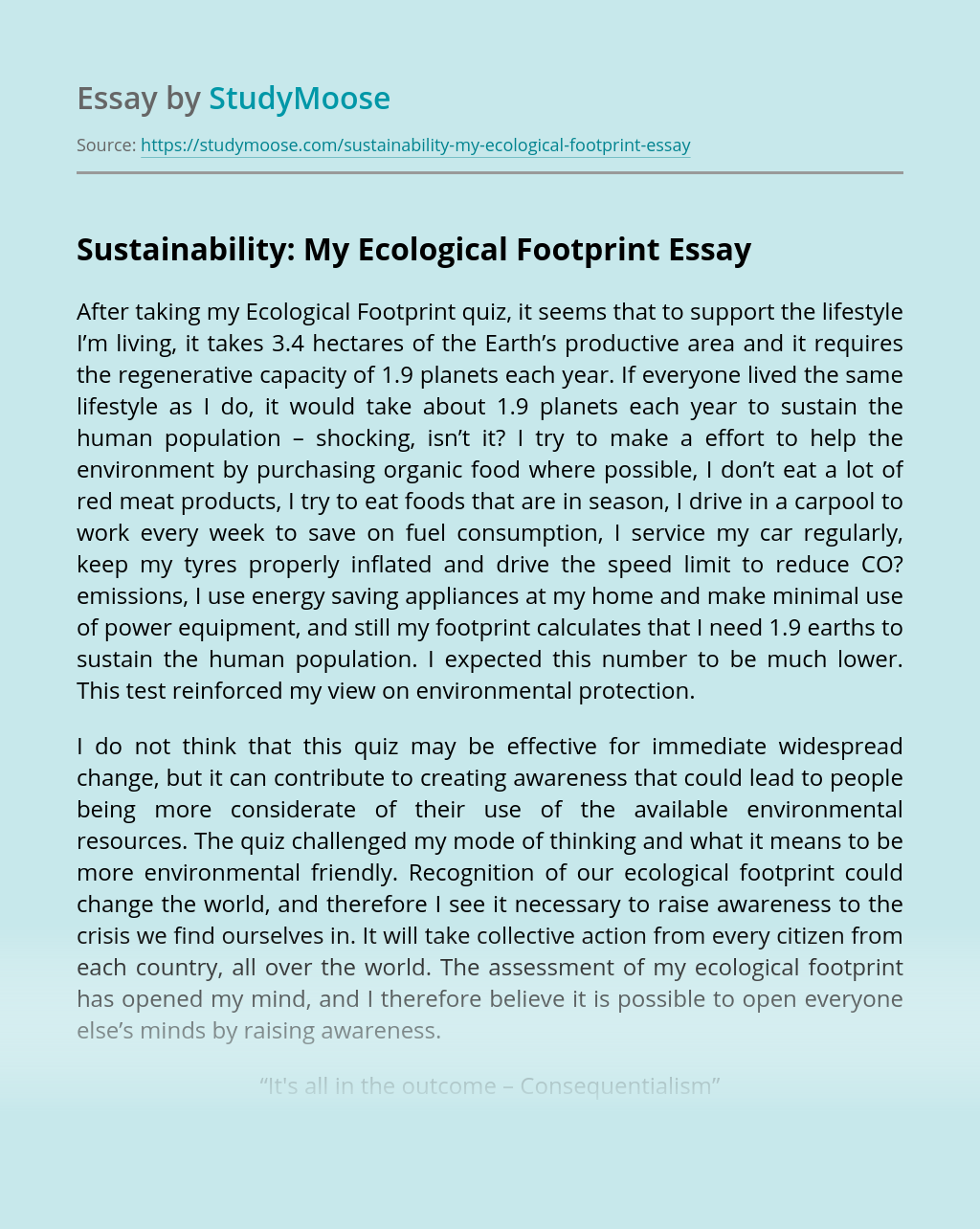 Sustainability: My Ecological Footprint