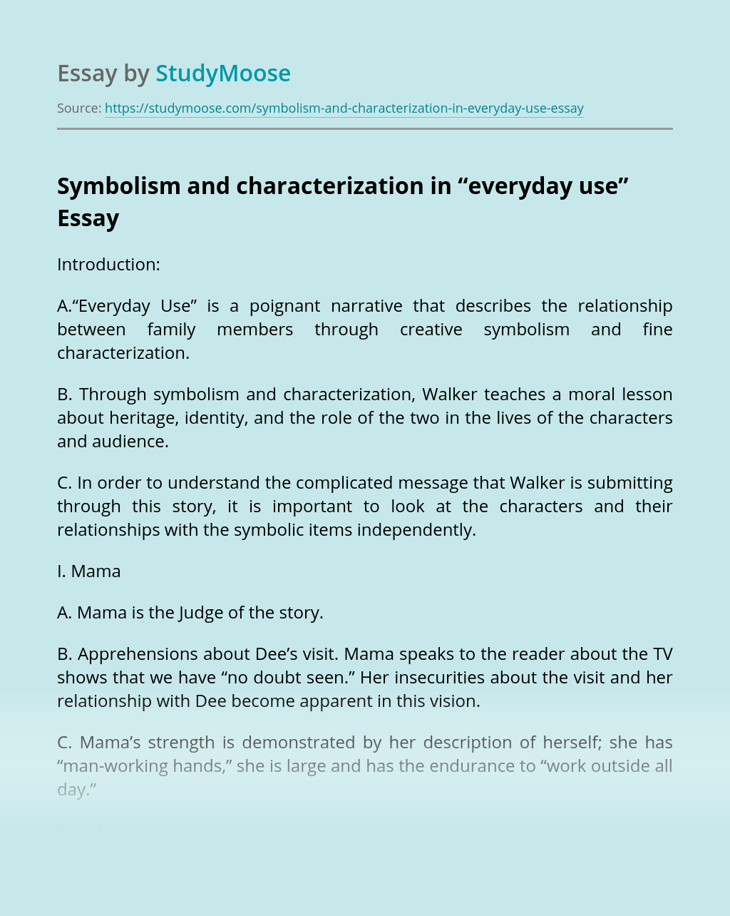 "Symbolism and characterization in ""everyday use"""