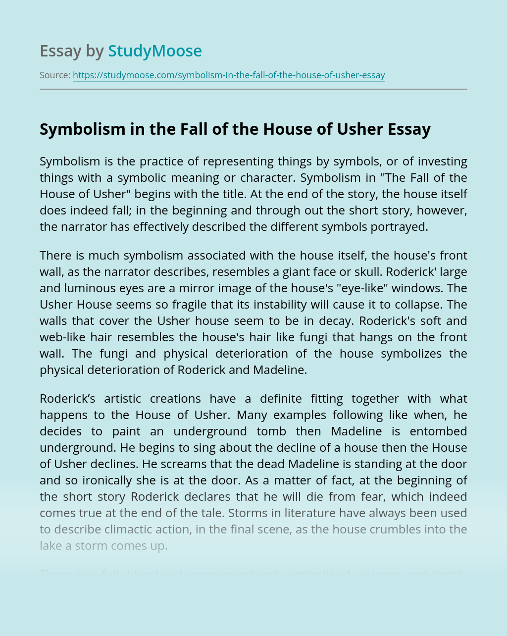Symbolism in the Fall of the House of Usher