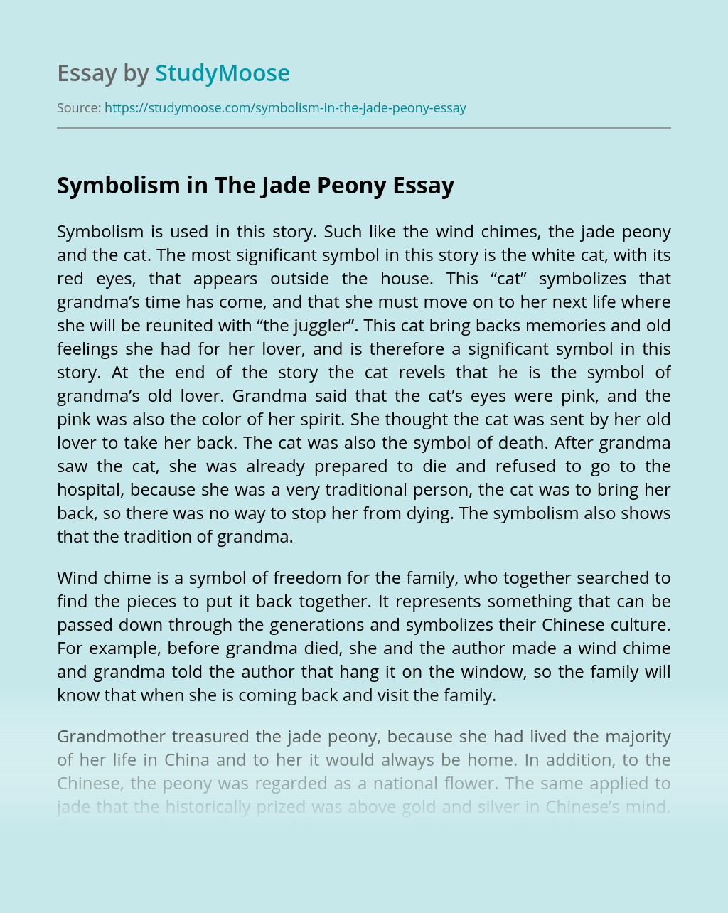 Symbolism in The Jade Peony