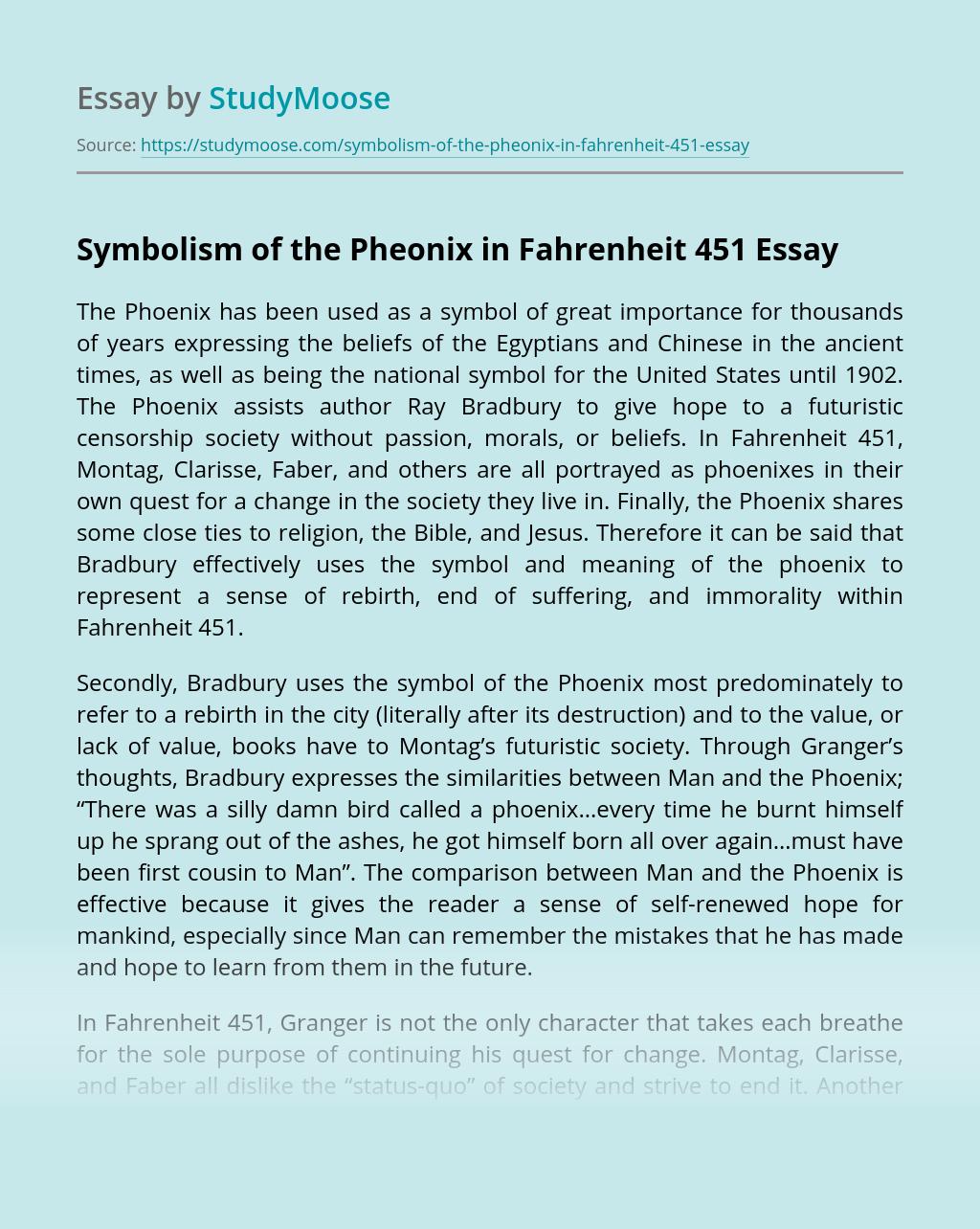 Symbolism of the Pheonix in Fahrenheit 451
