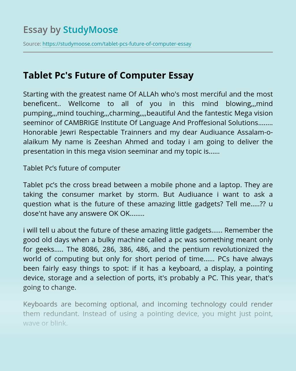 Tablet Pc's Future of Computer