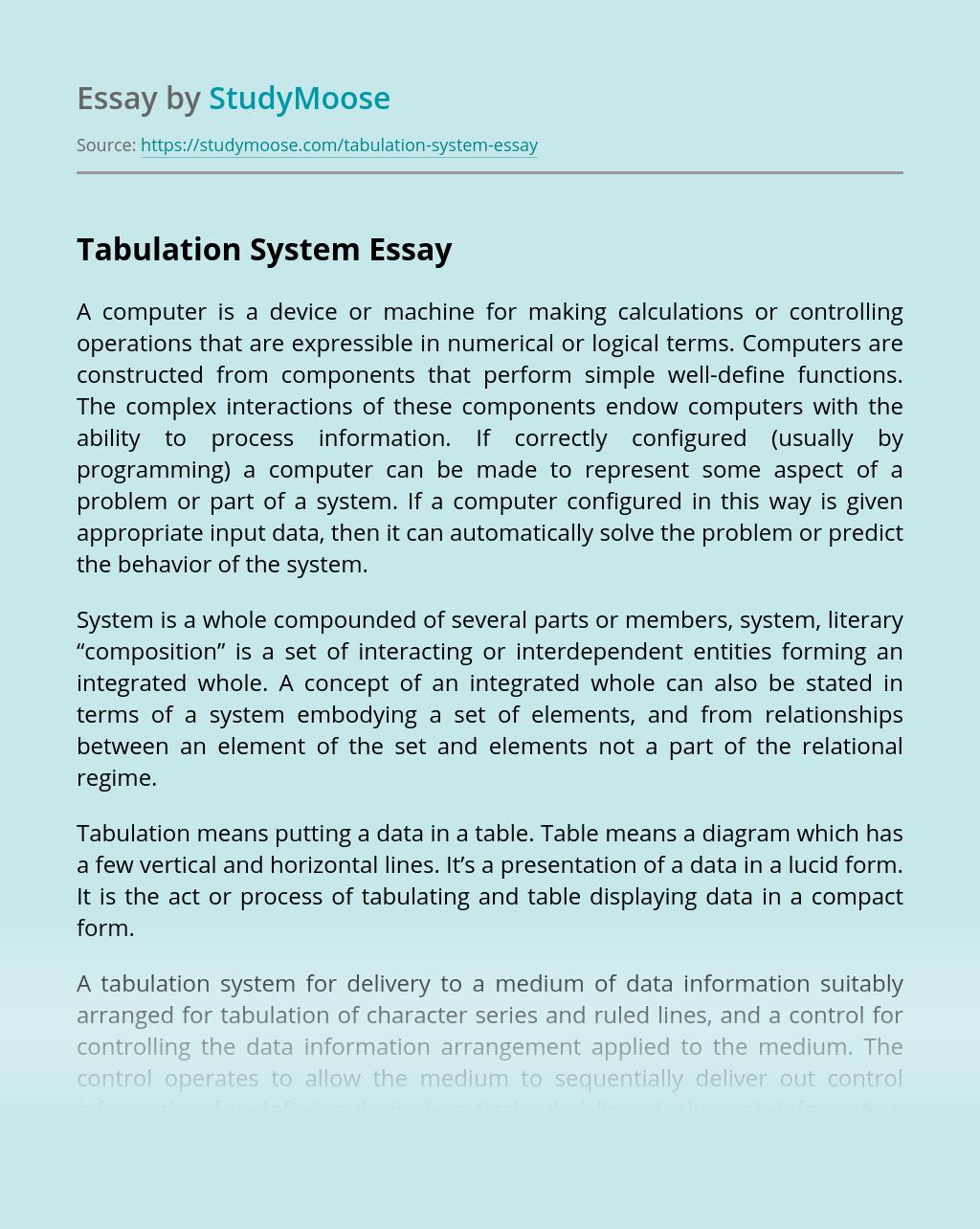 Tabulation System