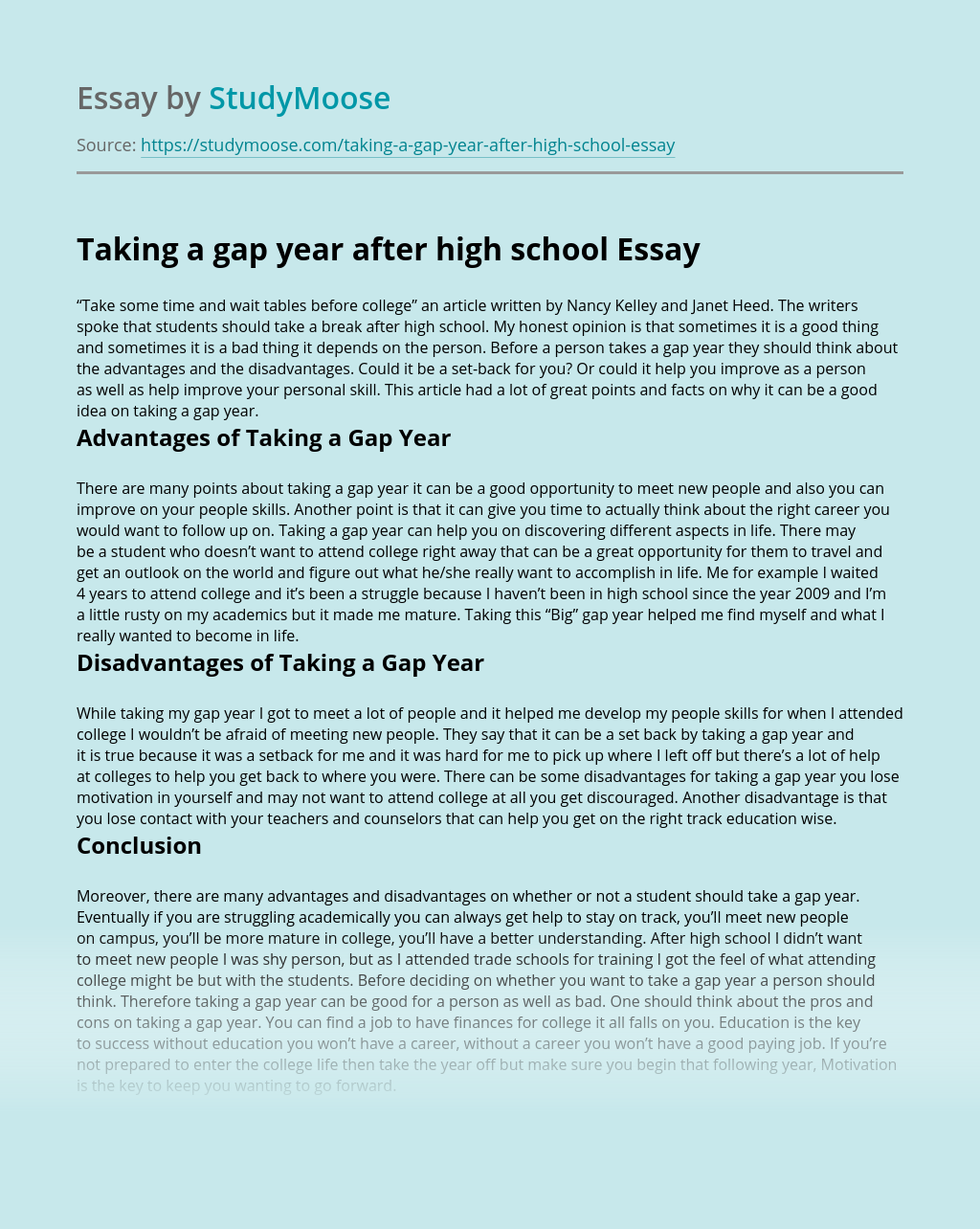 Taking a gap year after high school