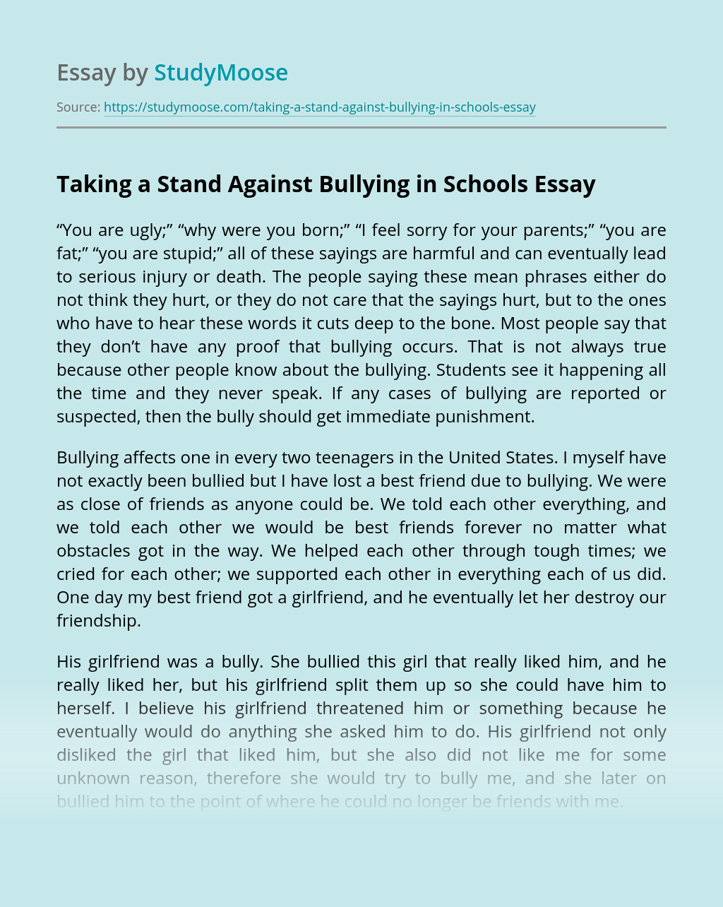 Taking a Stand Against Bullying in Schools