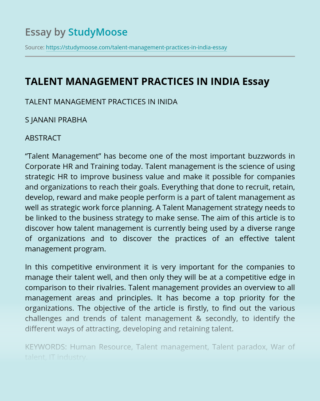 TALENT MANAGEMENT PRACTICES IN INDIA