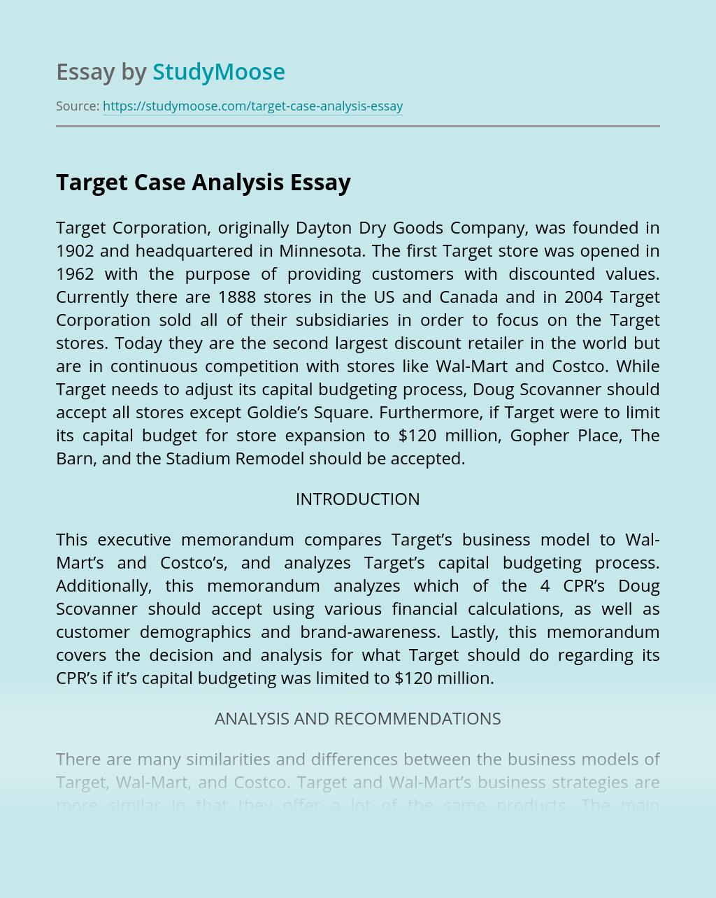 Target Case Analysis