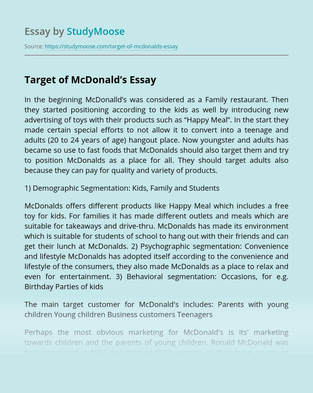 Target of McDonald's