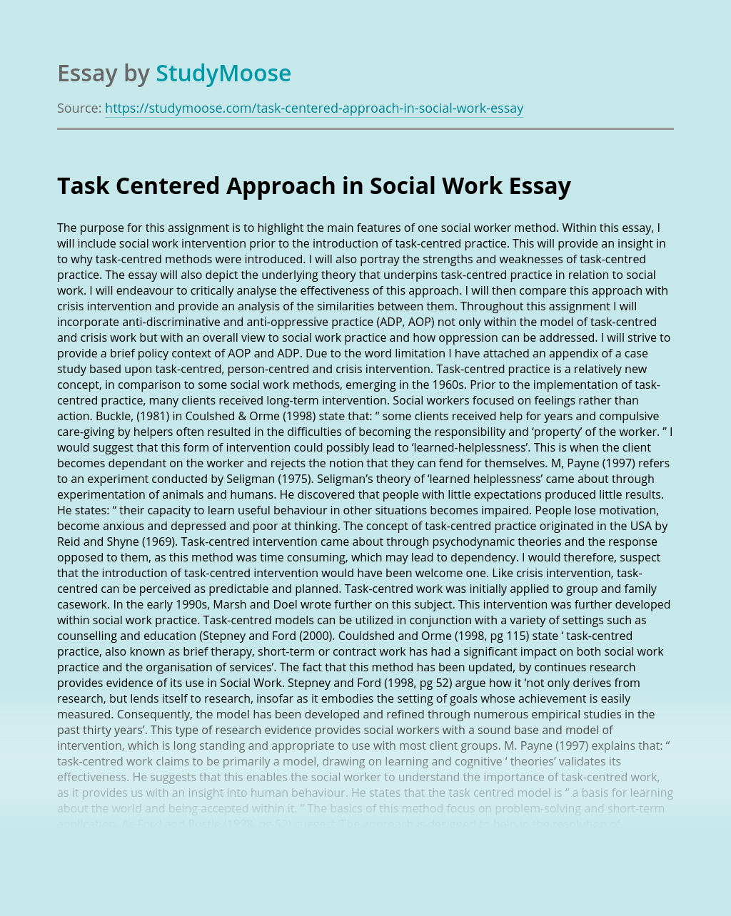 Task Centered Approach in Social Work