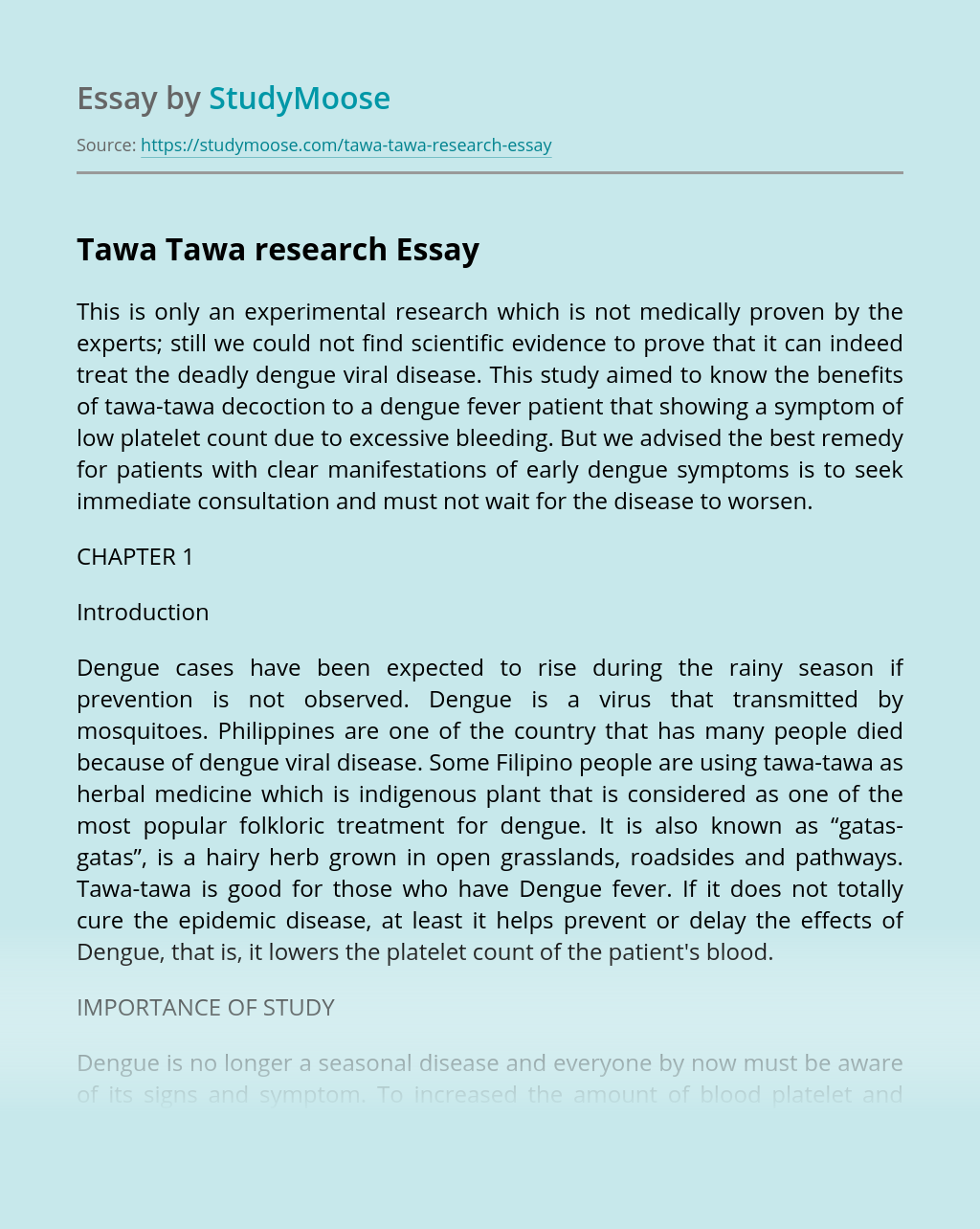 Tawa Tawa research