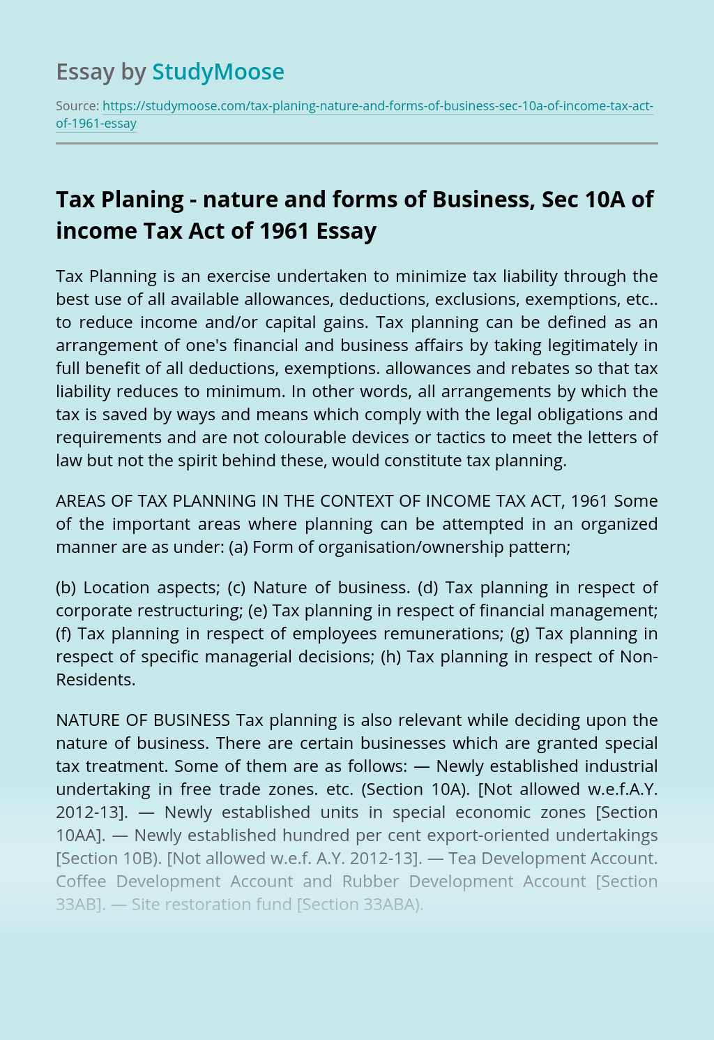 Tax Planing - nature and forms of Business, Sec 10A of income Tax Act of 1961