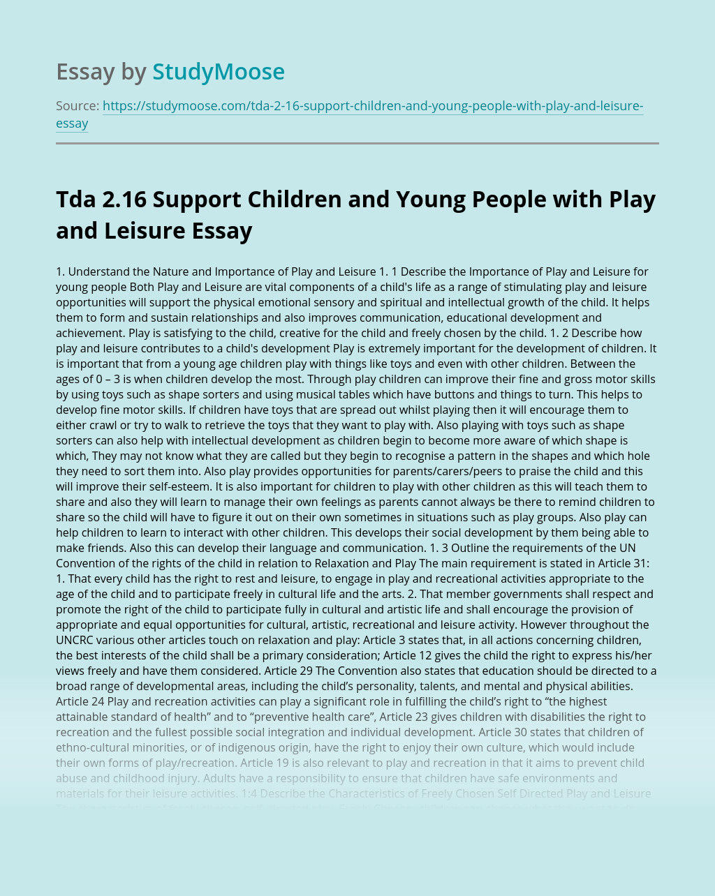Tda 2.16 Support Children and Young People with Play and Leisure
