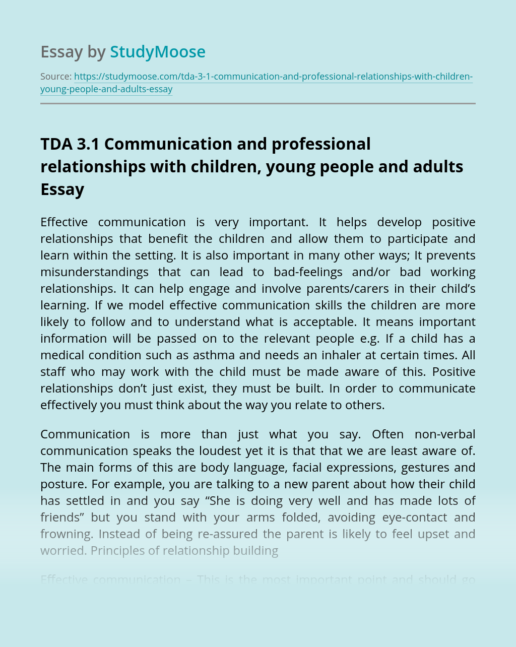 TDA 3.1 Communication and professional relationships with children, young people and adults