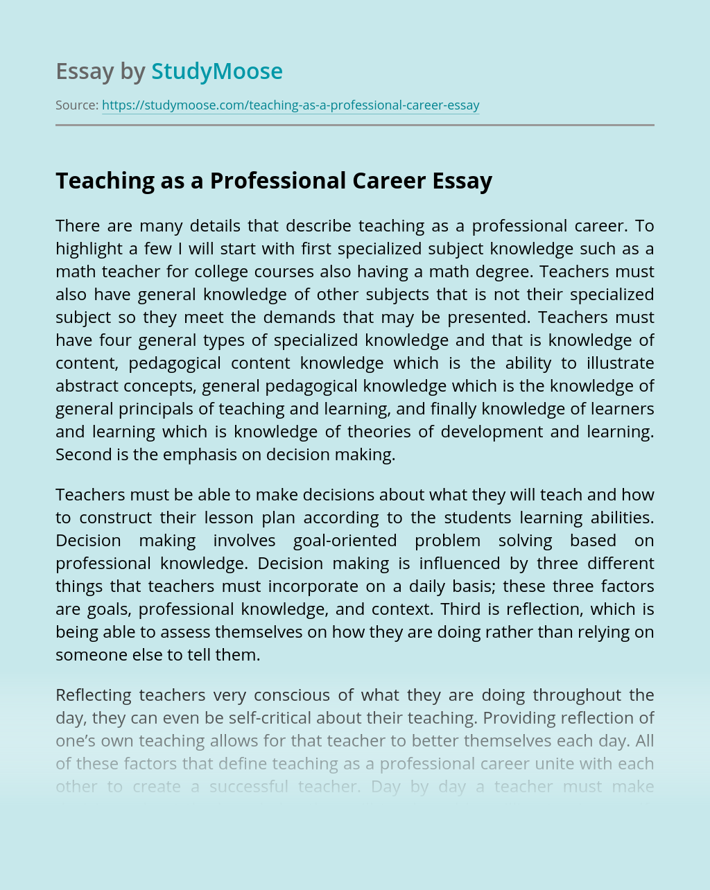 Teaching as a Professional Career
