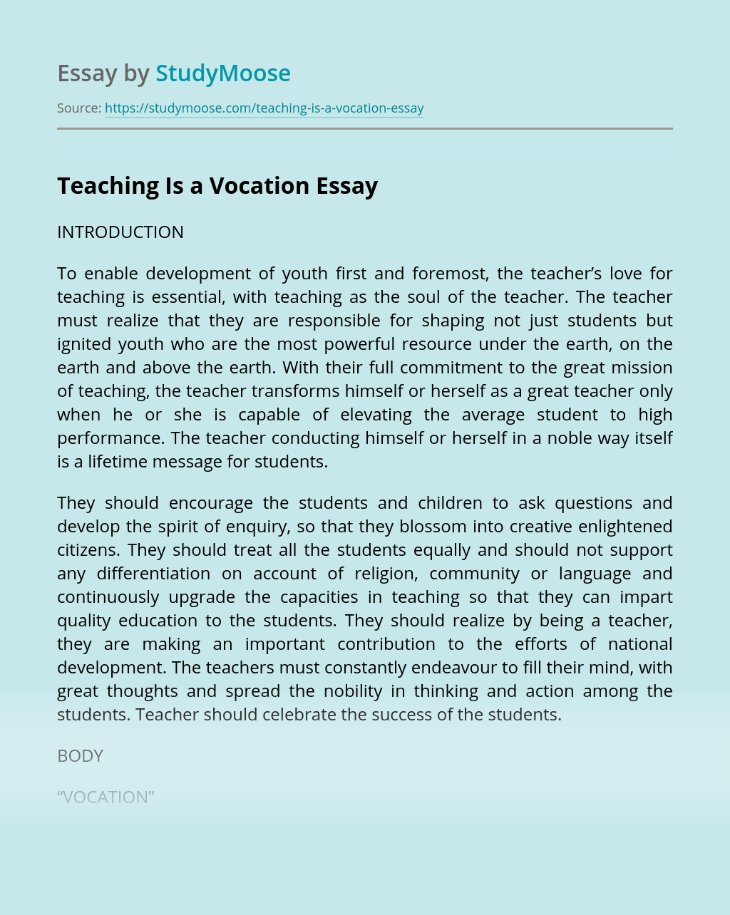 Teaching Is a Vocation