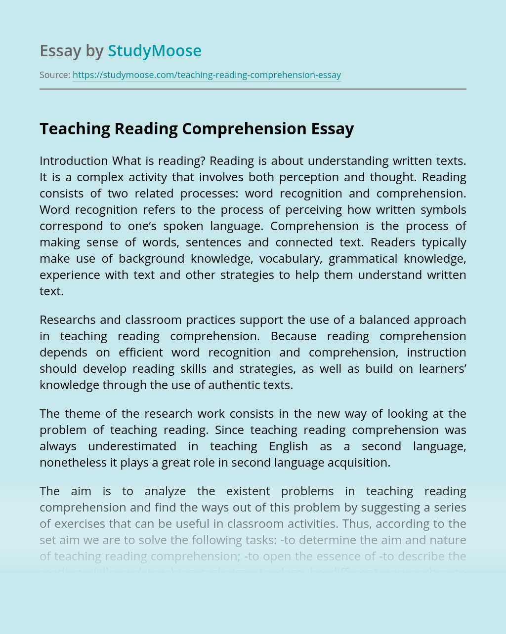 - Teaching Reading Comprehension Free Essay Example