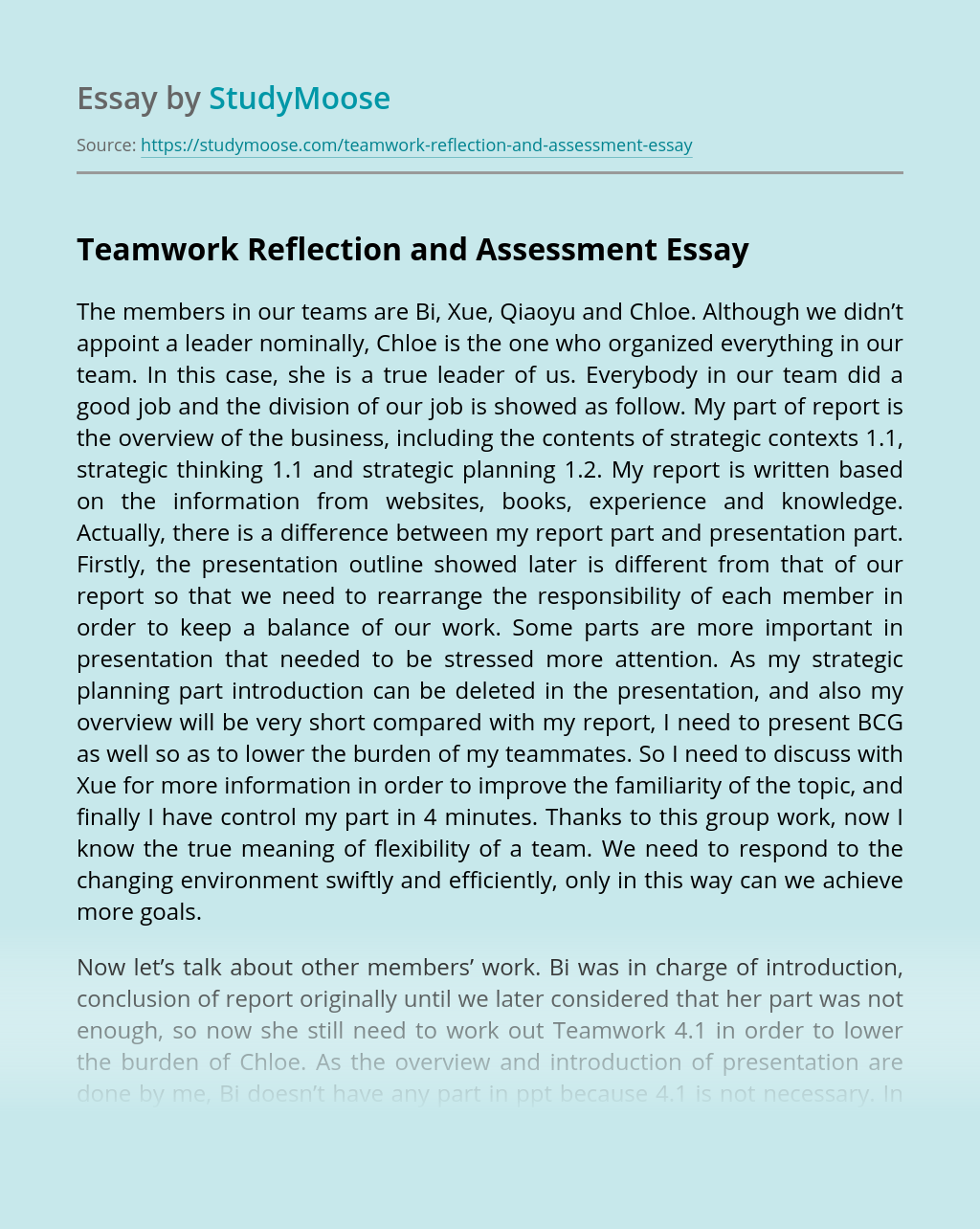 Teamwork Reflection and Assessment