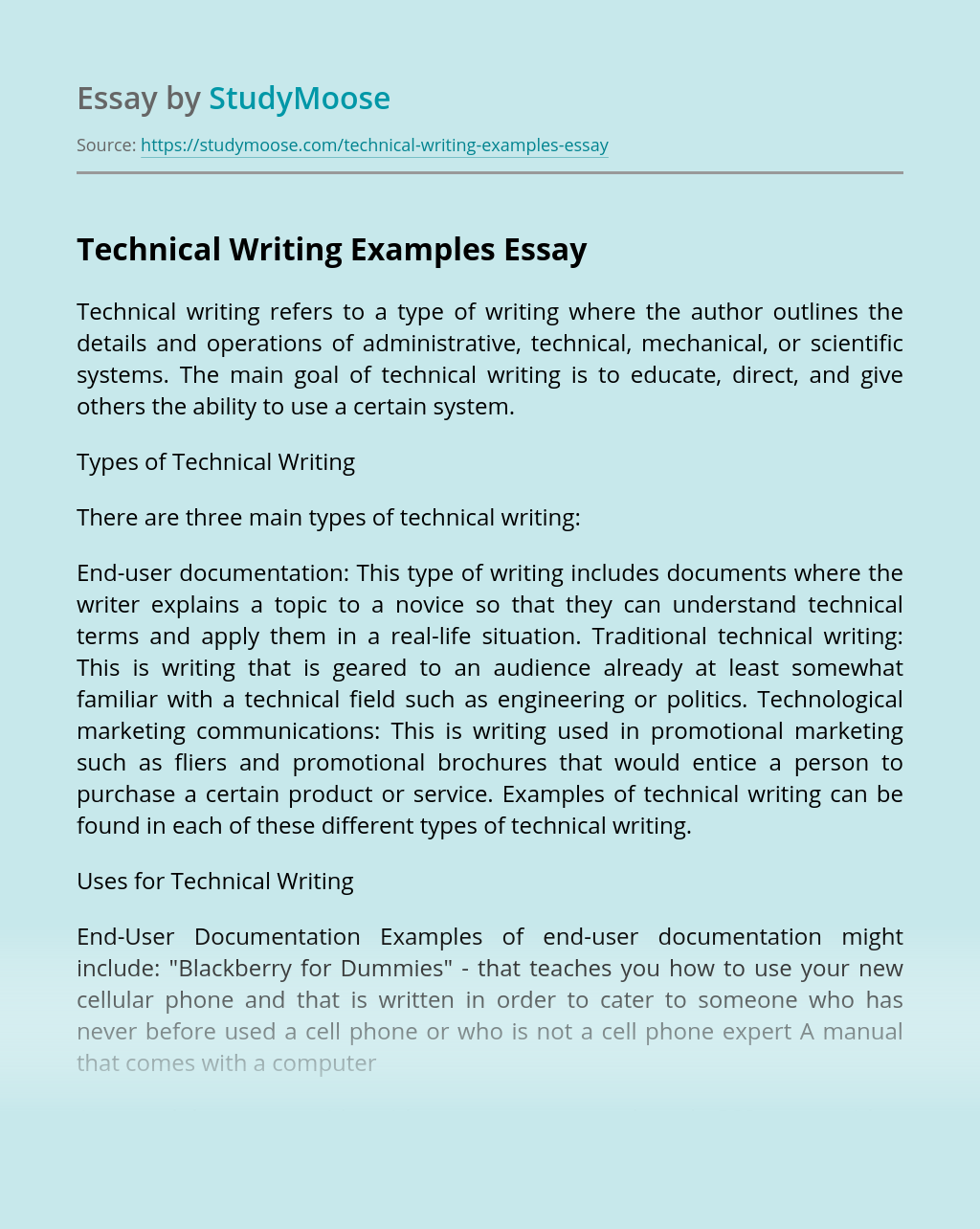 ?Technical Writing Examples