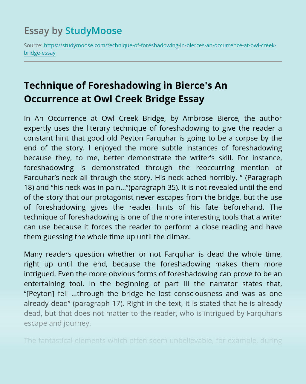 Technique of Foreshadowing in Bierce's An Occurrence at Owl Creek Bridge