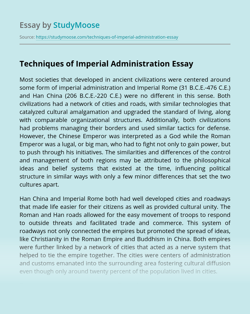 Techniques of Imperial Administration