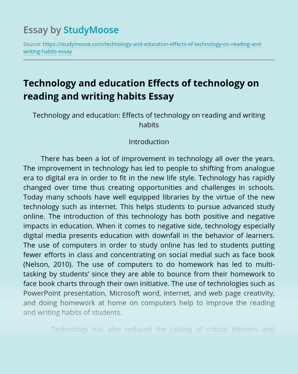 Technology and education Effects of technology on reading and writing habits