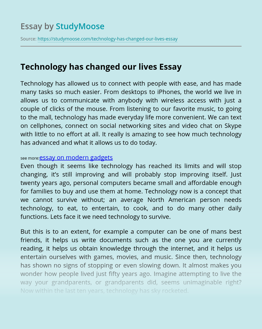 Technology has changed our lives