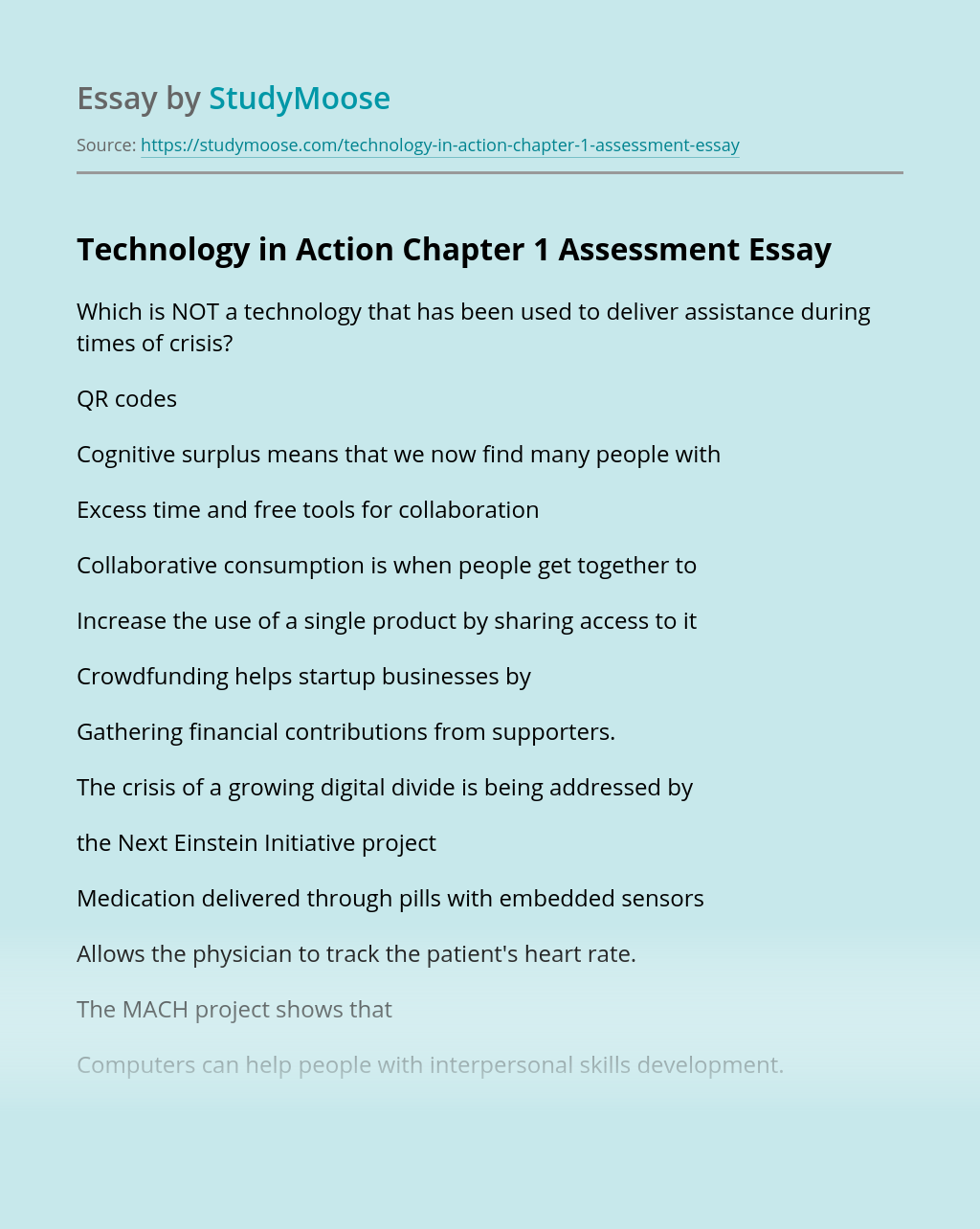 Technology in Action Chapter 1 Assessment
