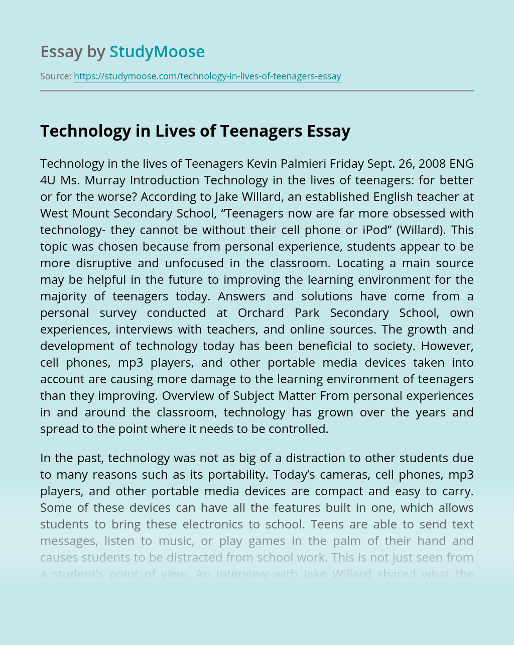 Technology in Lives of Teenagers