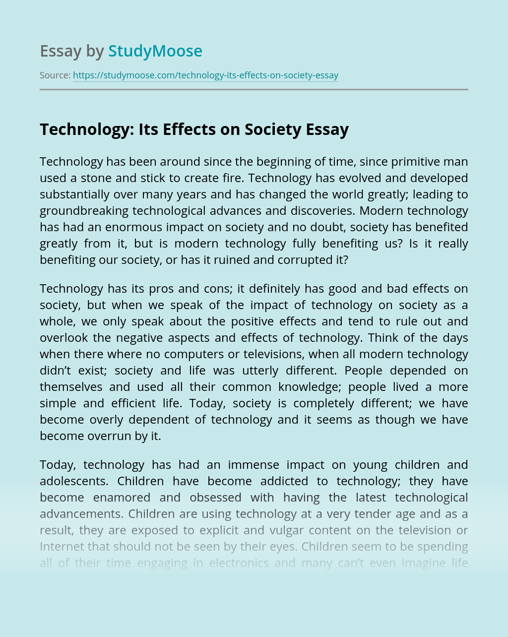 Technology: Its Effects on Society