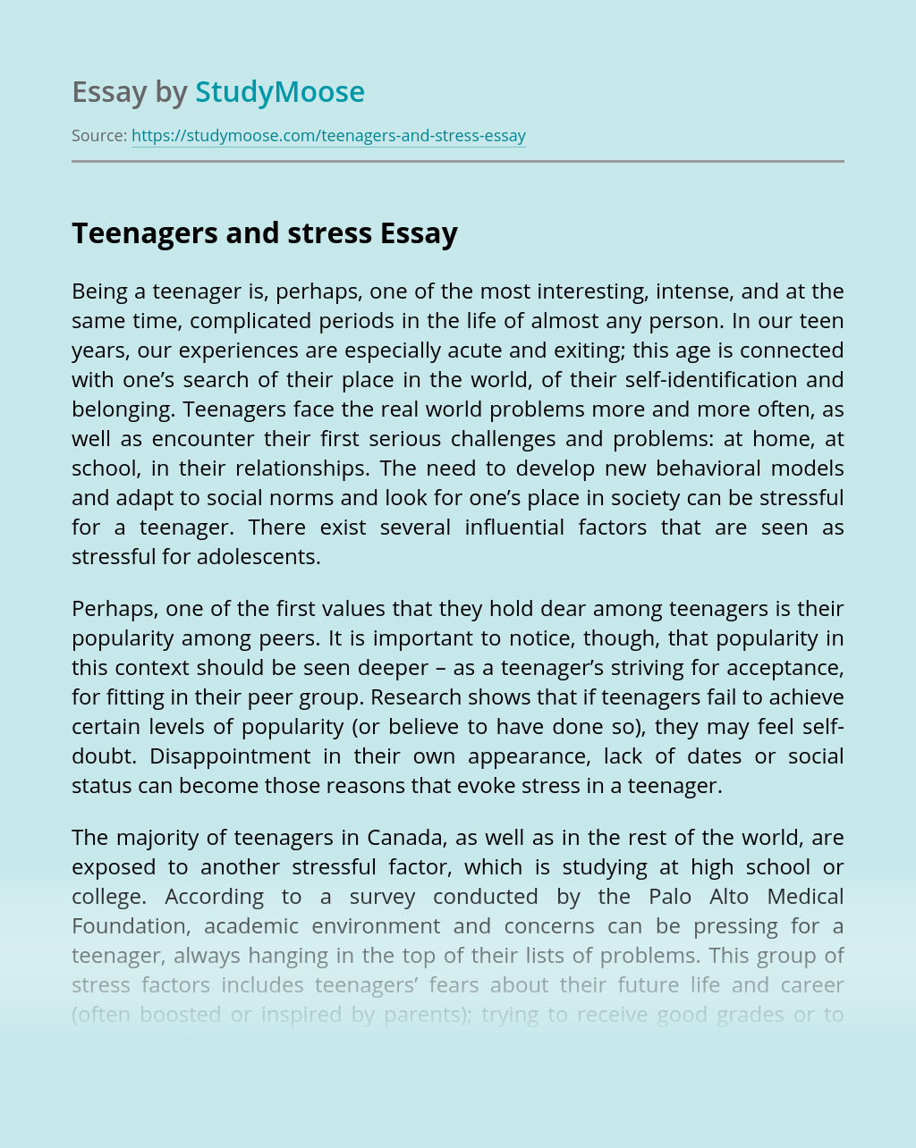 Teenagers and stress