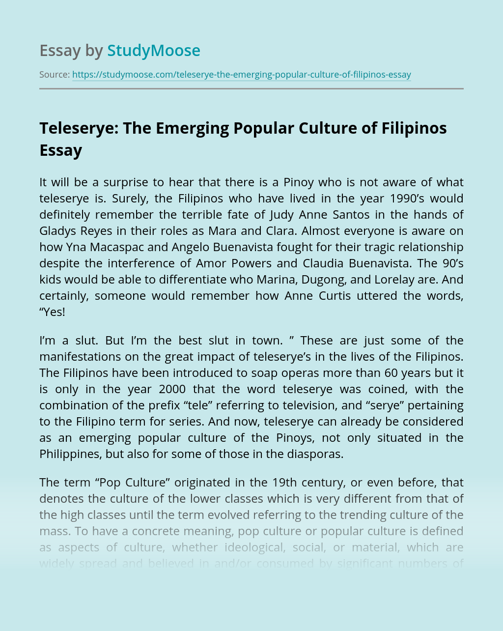 Teleserye: The Emerging Popular Culture of Filipinos