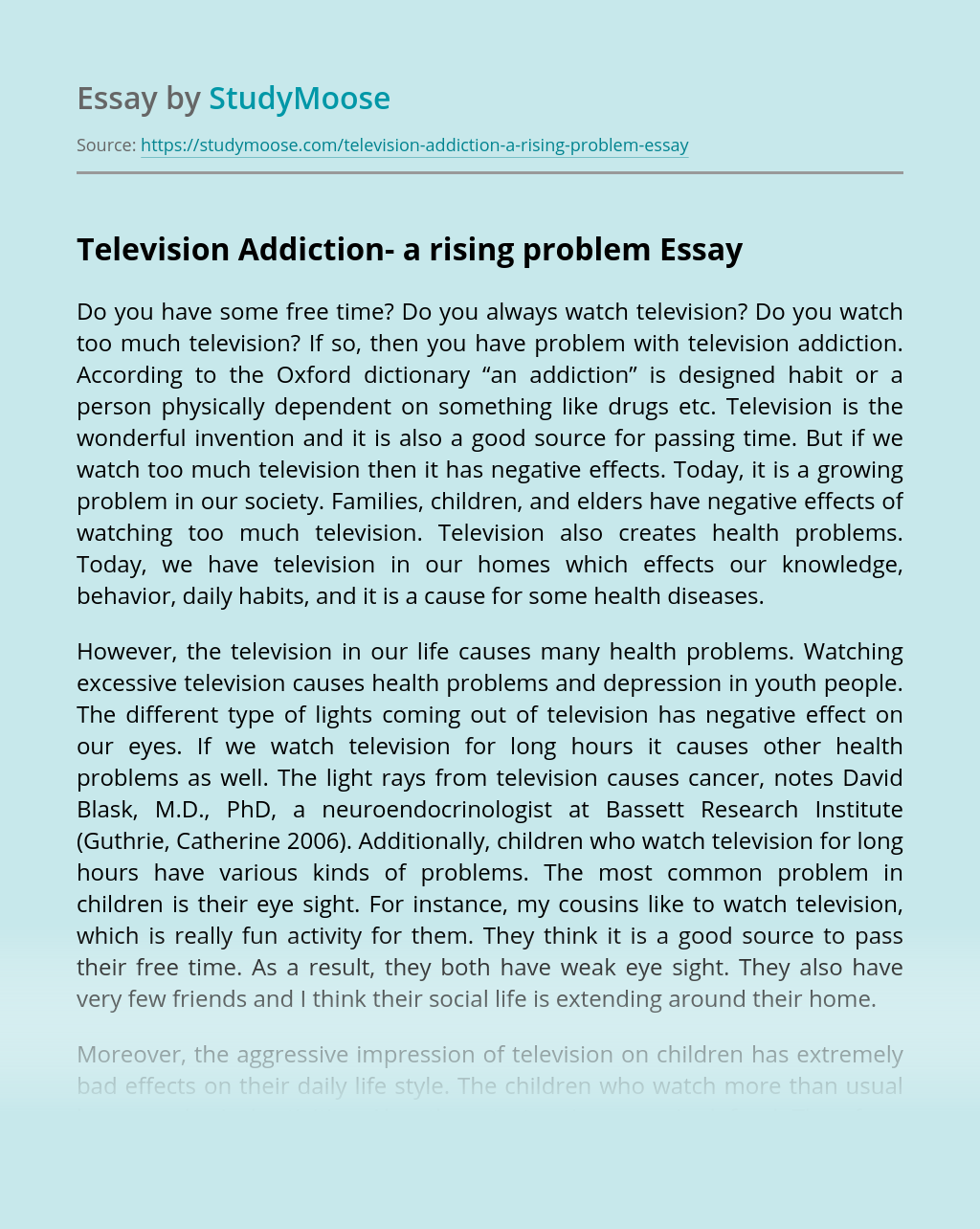 Television Addiction- a rising problem