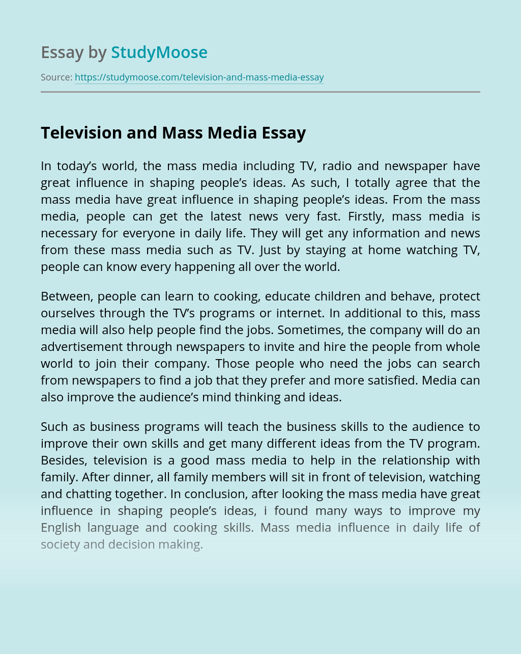 essay on role of mass media in education