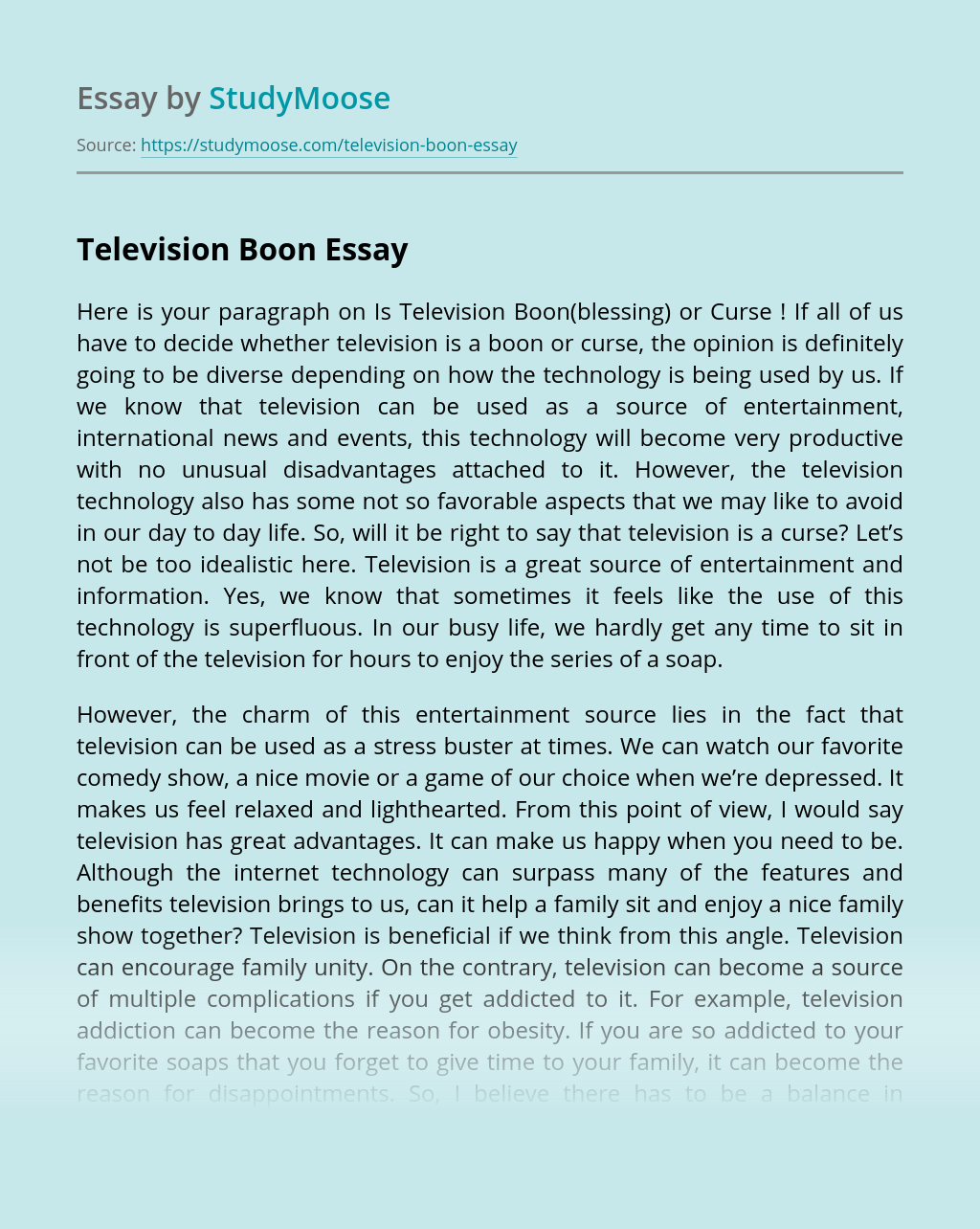 Television Boon