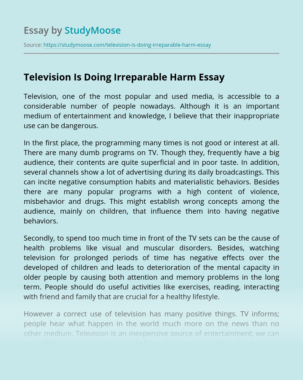 Television Is Doing Irreparable Harm