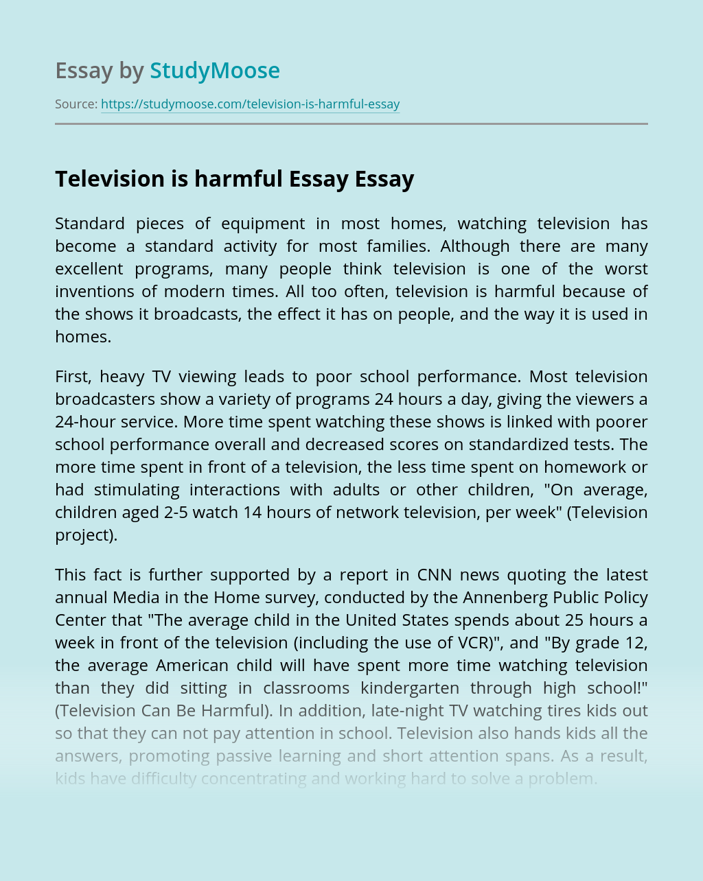 Television is harmful Essay