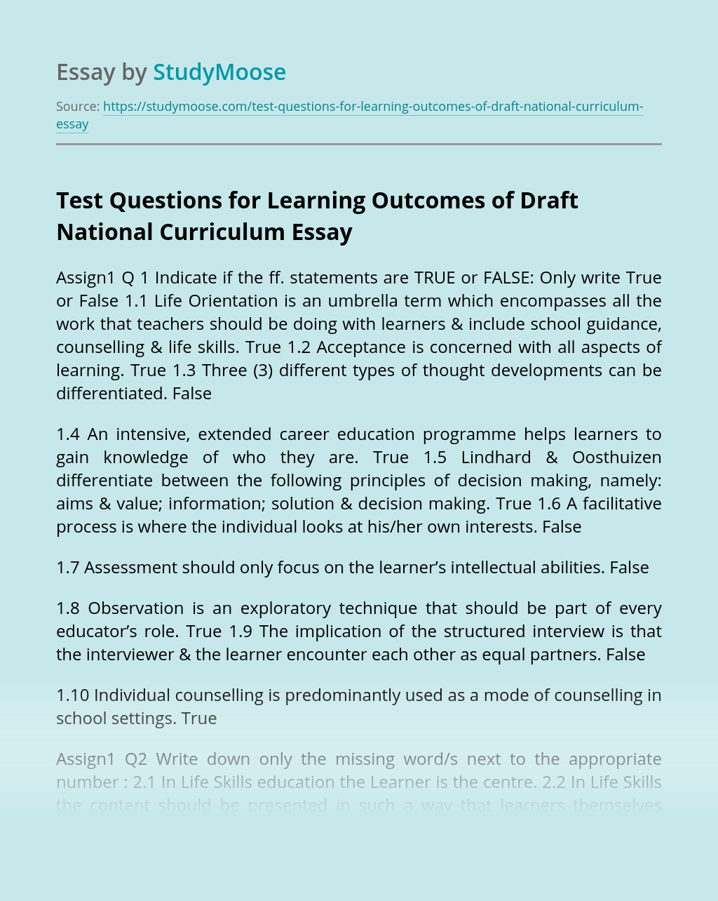 Test Questions for Learning Outcomes of Draft National Curriculum