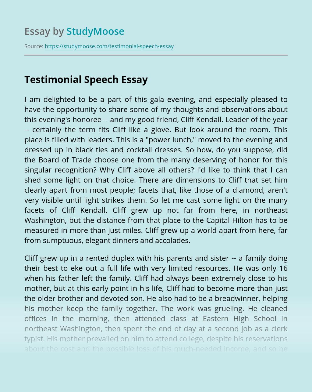Testimonial Speech