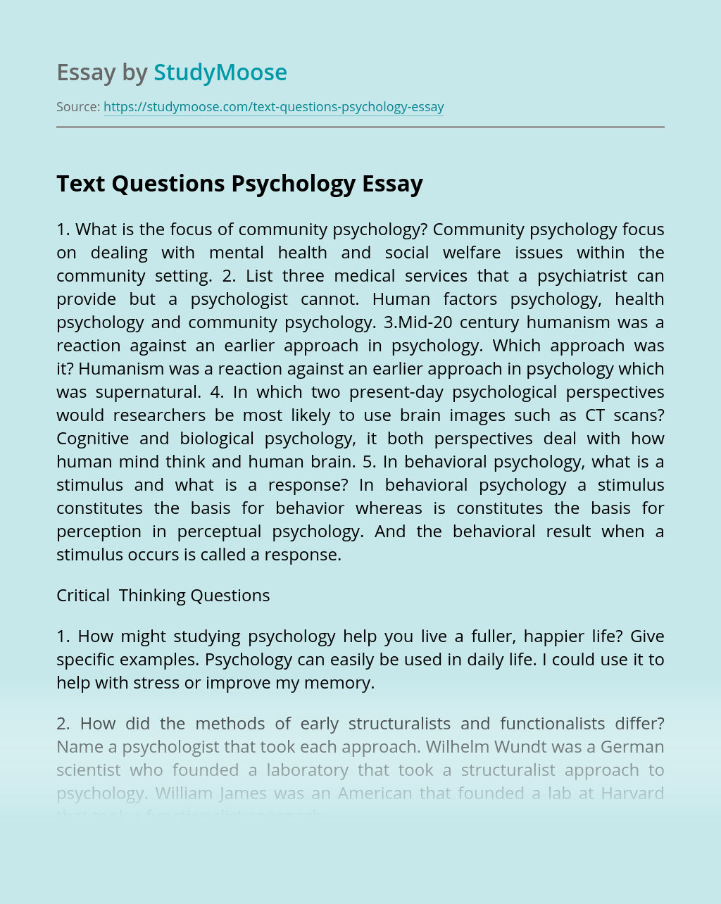 Text Questions Psychology