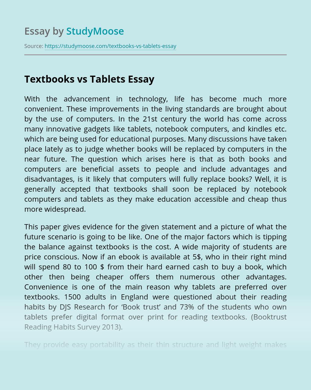 Textbooks vs Tablets