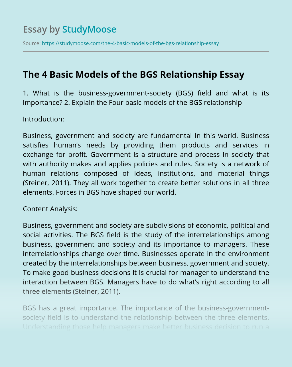 The 4 Basic Models of the BGS Relationship
