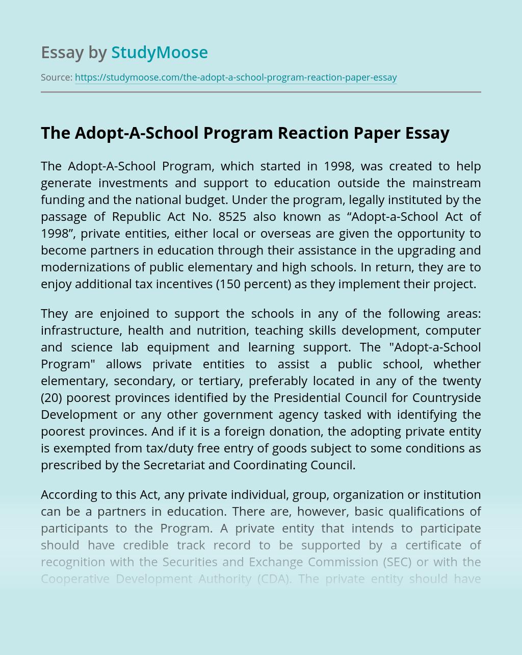 The Adopt-A-School Program Reaction Paper