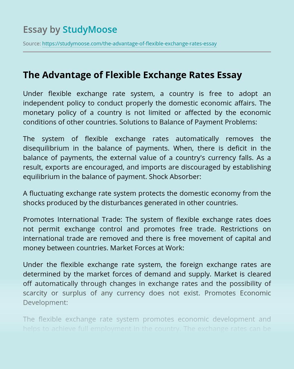 The Advantage of Flexible Exchange Rates