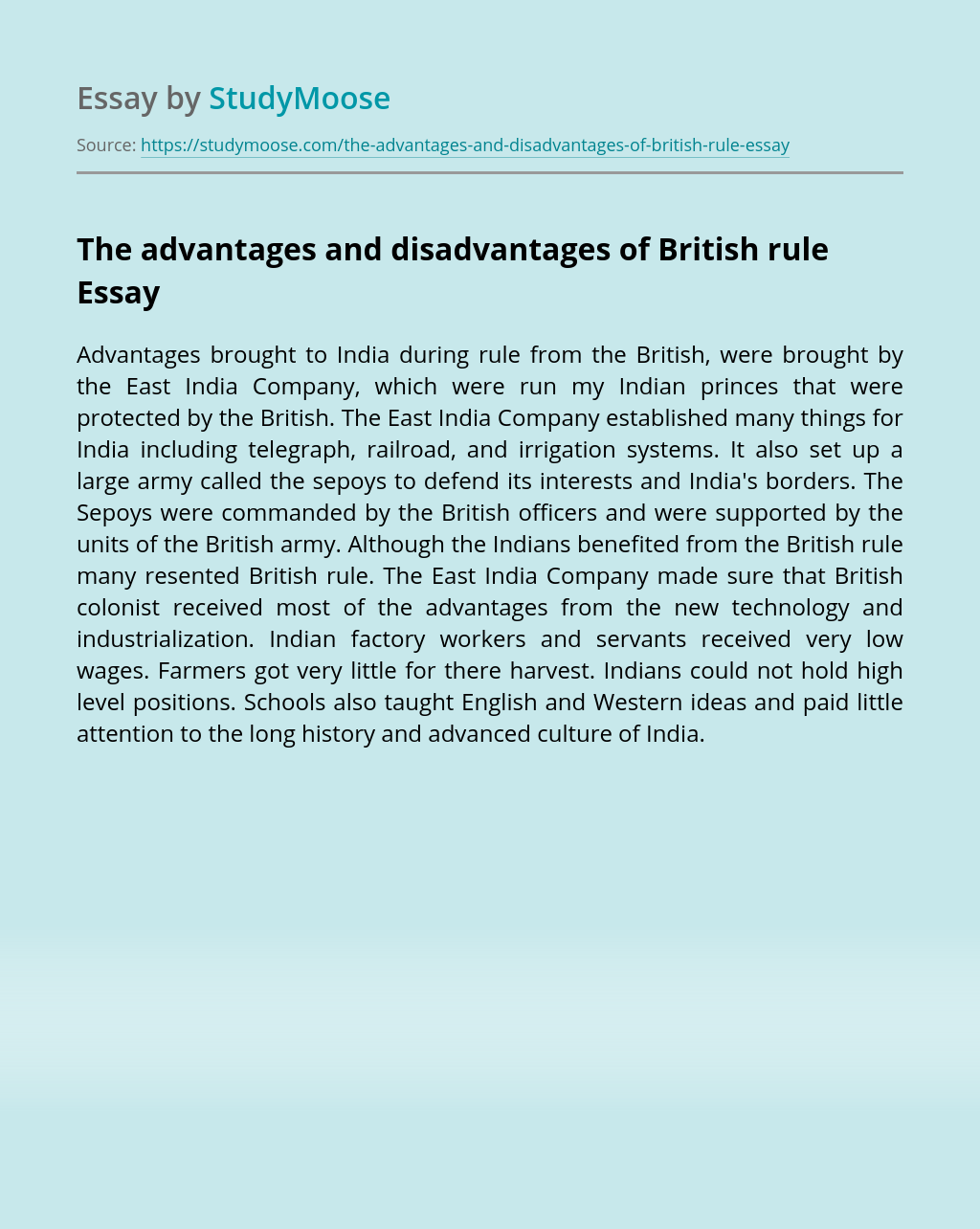 The advantages and disadvantages of British rule