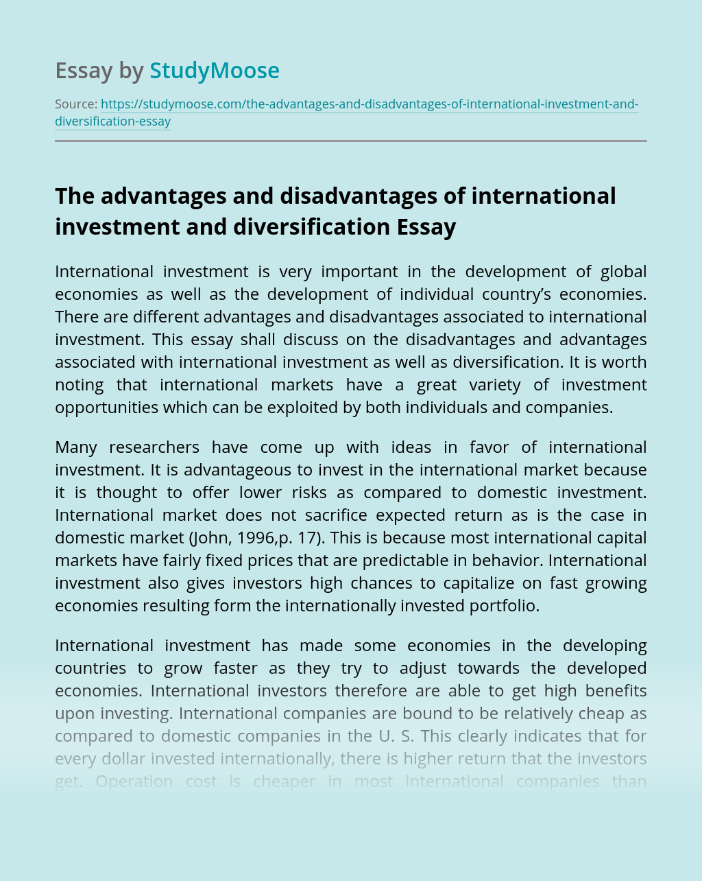 The advantages and disadvantages of international investment and diversification